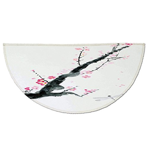 Half Round Door Mat Entrance Rug Floor Mats,Dragonfly,Branch of a Pink Cherry Blossom Sakura Tree Bud and A Dragonfly Dramatic Artisan,Pink Black,Garage Entry Carpet Decor for House Patio Grass Water ()