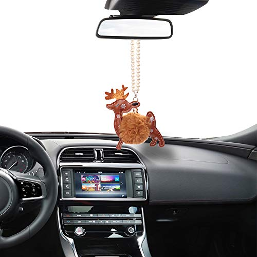 Mini-Factory Car Christmas Decoration Ornament Hanging Interior Rear View Mirror Car Charm for Christmas – Snowflake and Reindeer