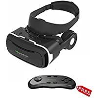 3D VR Glass Headset, Toprime Much Lighter Version Virtual Reality Goggles with Earphone VR Case Black for 4.5 - 6.0 Inch Smart Device