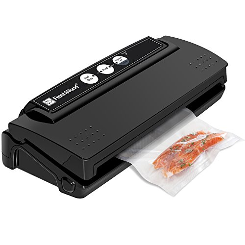 Vacuum Sealer, Fresh World Automatic Vacuum Sealing System, Compact Design, High Efficiency vacuum 15L/min and seal in 12s, Dry and Moist Food Mode, 10 Bonus Starter ()