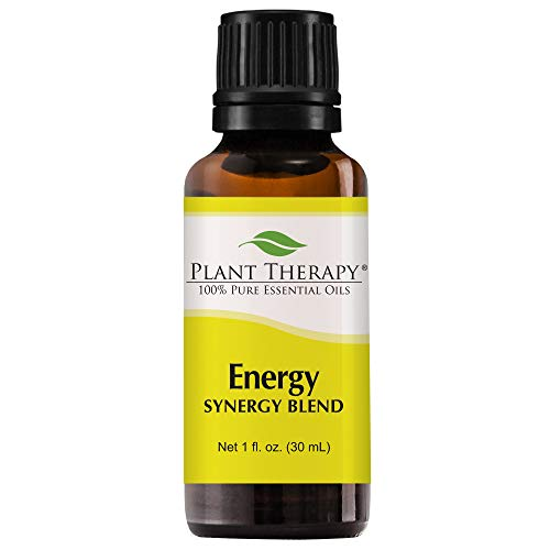 (Plant Therapy Energy Synergy Essential Oil Blend (Physical Energy). Blend of: Blood Orange, Peppermint, Lemon, Ginger, Eucalyptus, Geranium Egyptian. 30 mL (1 Ounce).)