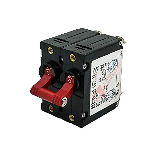 Double Pole AC DC Red Toggle Circuit Breaker Magnetic 30Amp for Boat RV
