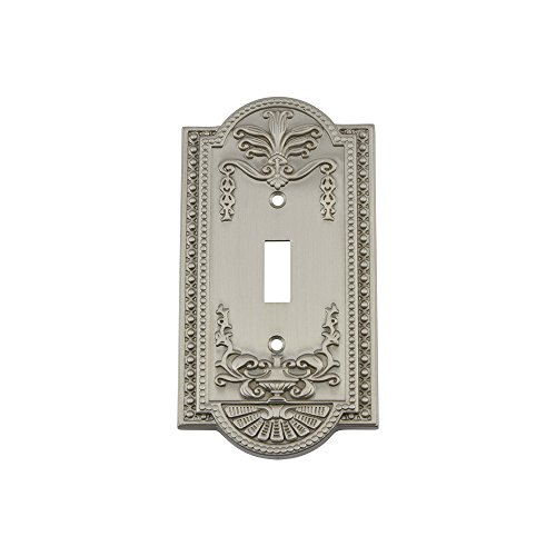 - Nostalgic Warehouse 719998 Meadows Switch Plate with Single Toggle, Satin Nickel