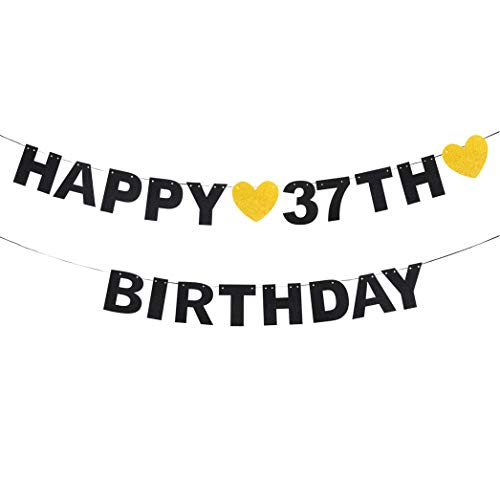 Happy 37th Birthday Black Glitter Paper Letter Banner Pennant Sweet Gold Glitter Heart Cheers to Thirty-seven Years Old Bday Fabulous Anniversary Party Event Funny Hanging Ornament Decoration -