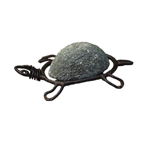 Ancient Graffiti Metal Turtle Natural River Stone with Wire