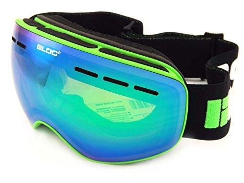 Bloc Lune Petite Coupe de ski Masque de ski Vert mat Revo Vert Miroir Cat. 3Jm010