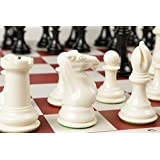 Quadruple Weight Tournament Chess Game Set - Chess Board Game with Natural Chess Pieces, Red Vinyl Board