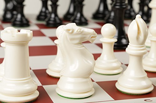 Chess Board Queen (Quadruple Weight Tournament Chess Game Set - Chess Board Game with Natural Chess Pieces, Red Vinyl Board)