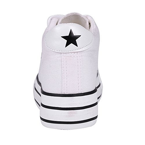 Buganda Dames Klassiek Canvas Platte Sneakers Casual Vetersluiting Verborgen Hak Plateauzolen Wit