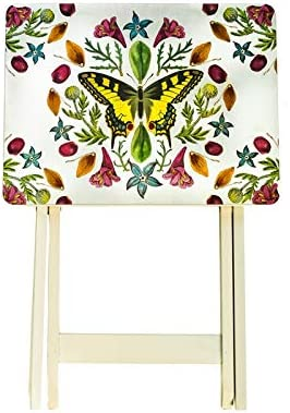 Cape Craftsment Butterflies TV Trays with Stand, Set of 4