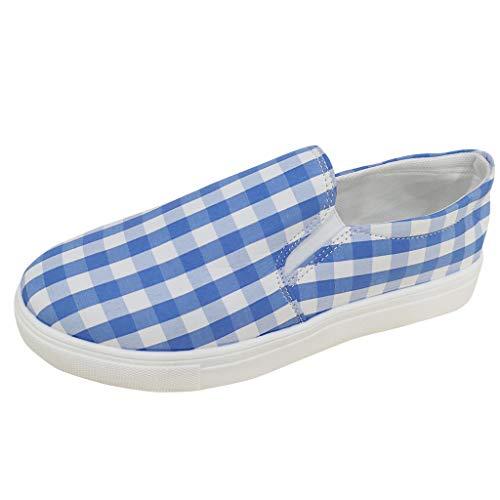 (Mocasines para mujer, Malbaba, para mujer, zapatos de lona con estampado de tela escocesa, con punta redonda, tamaño extra, tamaño plano, sandalias planas para oficina)