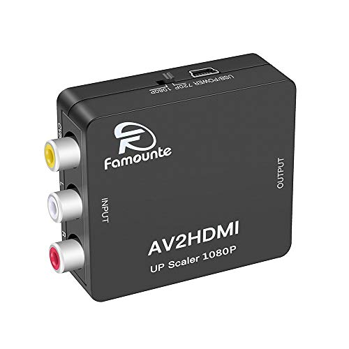Composite to HDMI,Famounte 3RCA/AV/CVBS/Composite to HDMI Converter Adapter Full HD 720P/1080P Video Audio Mini Adaptor with USB Power Cable for PS2/PS3/VHS/VCR/Blue-Ray DVD Players to HDTV/Projector