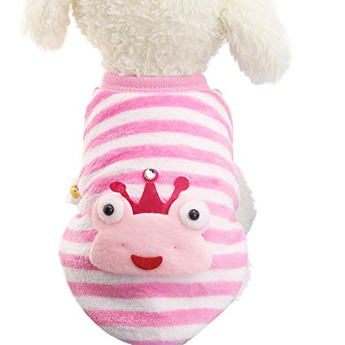 - Pet Clothes, OOEOO Cute Dog Cat Sweater Puppy Small Doggie Striped Frog Winter Soft Coat (Pink, M)