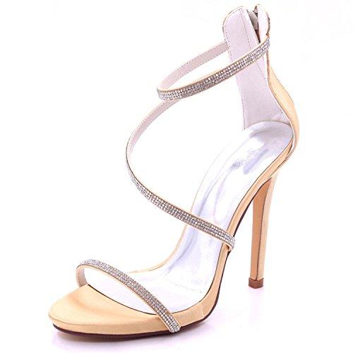 Pietre per a Elegant high Strass Spillo shoes 7216 Matrimonio Tacco Champagne Alto da Tacco Janes Donna 11 qq6w7t