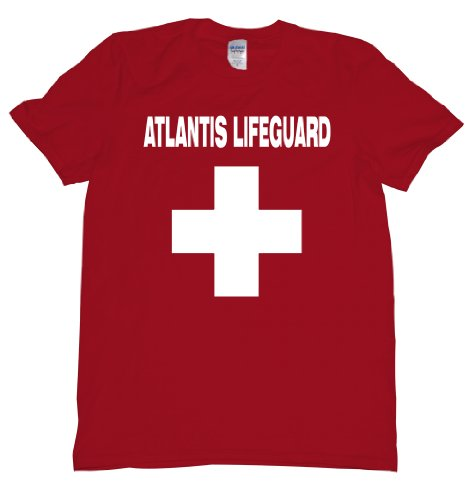 Legendary Mythical Lost City of Atlantis Life Guard Red Cross T Shirt Mens XXL red U Red Atlantis Art