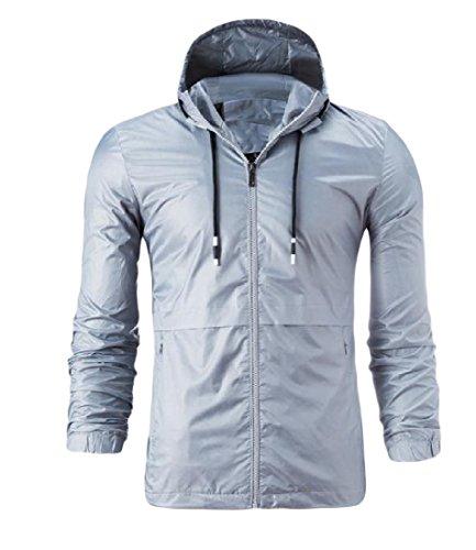 Cappuccio Mogogo Grigia Outwear Mens Con Full Zip Coulisse Di Solido Colore Giacca 77UpC1S