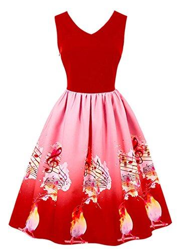 In Rosso Canto Uccelli Donne E Delle Cocktail Flare Senza Degli Maniche Kimring Regali Di Forma Vestito Dall'oscillazione Natale S0UnWqZT