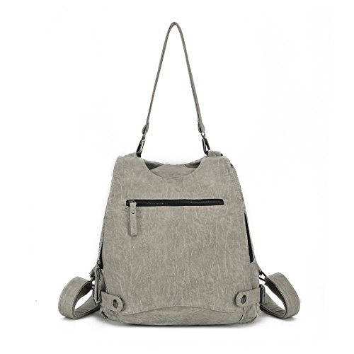 Women Large Ladies Convertible Backpack Capacity Artwell Grey Light Purse Shoulder Security Bag Leather Rucksack Washed Crossbody 4UR1xnw