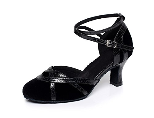 Dance Latin Salsa Tango Suede Toe Black QJ7043 Round Minitoo Ladies Pumps XqR8x6