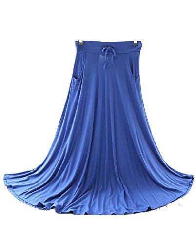 Femme Casual Retro Une Jupe Longue Swing Cordelette Fluide Maxi Jupe Saphir Bleu