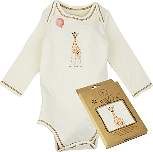100% Organic Cotton Long Sleeve Unisex Baby Onesie w/Plant Dye Imprints, Giraffe w/Balloon, 3M