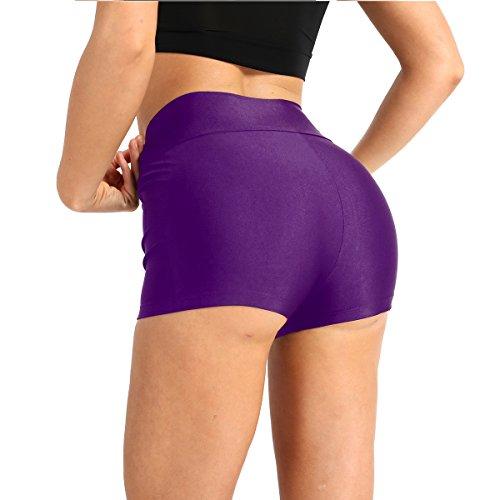 Alvivi Women Adult Lycra High Waisted Workout Gymnastics Dance Short Tummy Control Booty Shorts Purple Medium -