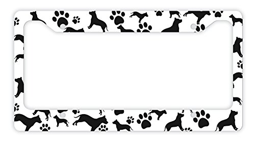 - ThisWear Pitbull License Plate Frame Dog Silhouette Paw Print License Plate Frame Pitbull Gifts Dog Lovers Novelty License Plate Pitbull