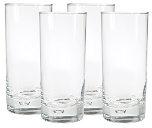 Home Essentials Red Series 17 Oz. Bubble-bottomed Round Cut Highball Drinking Glasses, Set of ()