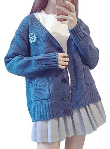 BSCOOLレディース カーディガン 長袖 ゆったり ニットアウター 韓国ファッション 無地 セーター 秋冬 レッド 白