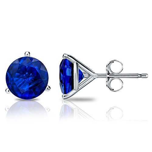 14k White Gold Plated 3-Prong Martini Round Blue Sapphire Stud Earrings 0.50 ct