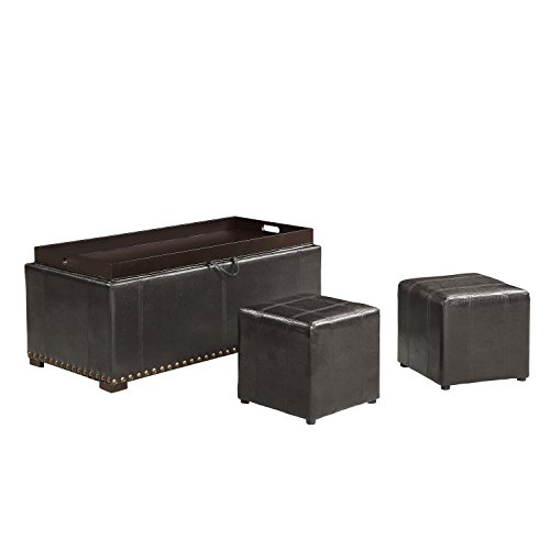 AC Pacific 2 Side Ottomans Storage Bench with with, Black