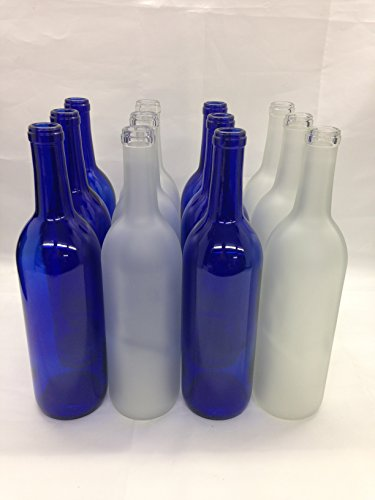 12 - Assorted 750ml Bottles 6 Blue 6 Frosted for Bottle Trees, Crafting, Parties,Wedding Center Piece , Decor , Home Brew , Beer, Wine