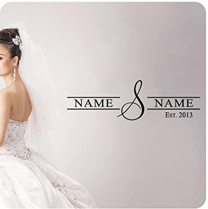 Amazoncom Personalized Wedding Date And Name Wall Decal Quote