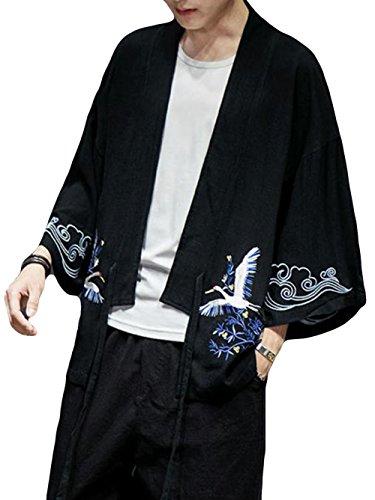 (BaLuoTe) 가디건 남성  가디건 면마 일본식 칠부 소매 캐주얼 자외선 차단 블랙/와인레드  M/L/XL/XXL/XXXL/XXXXL/XXXXXL