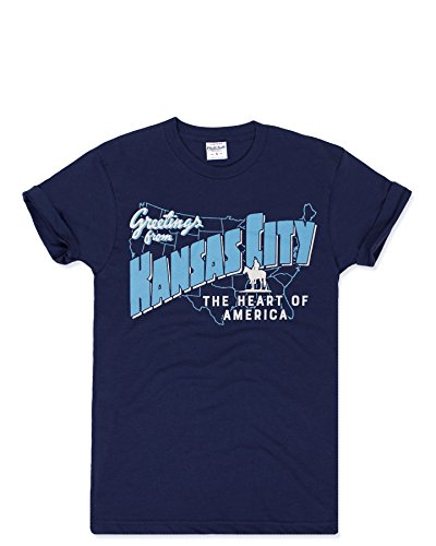 Charlie Hustle Unisex Hometown Greetings from Kansas City T-Shirt L Navy -
