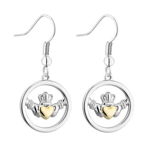 Solvar Two Tone Trinity Claddagh Earrings