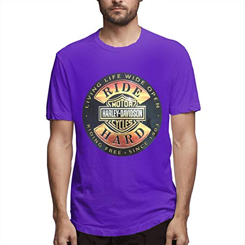 (Kaivi Harley Davidson Ride Hard Tin Signs T Shirt for Male Purple 33)
