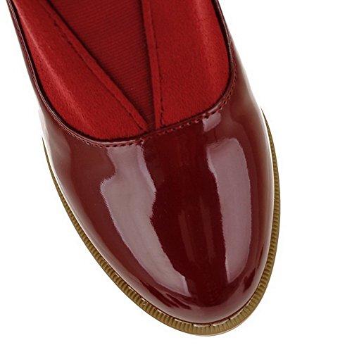 AmoonyFashion Womens Closed Round Toe Kitten Heel Platform Patent Leather PU Solid Pumps Claret V3yOimlRO