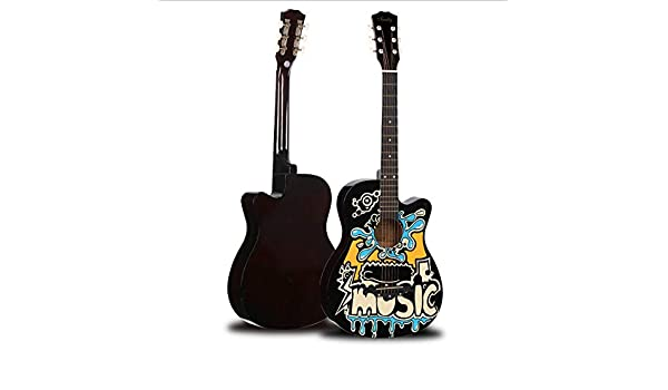Boll-ATur Graffiti 38 Inch Guitarra acústica popular Guitarra acústica de madera maciza hecha a mano Kit for principiantes con funda, sintonizador, cuerdas, púas, correa: Amazon.es: Instrumentos musicales
