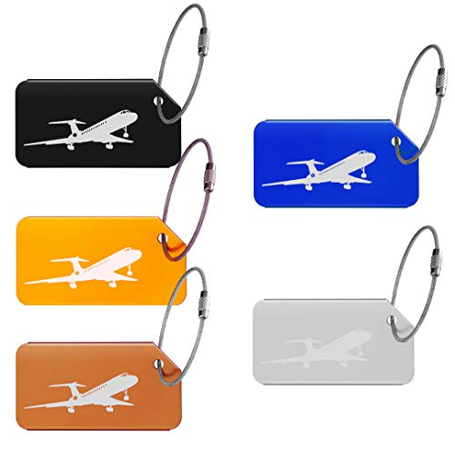 (OBKJJ luggage tag with drawstring bag personalized metal travel ID tag for travel outdoor item tag multicolor 5 pack (Blue737) )