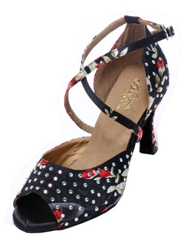 Minitoo QJ6141 Womens Peep Toe High Heel Satin Salsa Tango Ballroom Latin Party Crystals Dance Sandals Black