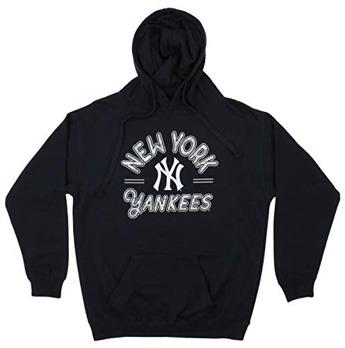 Zubaz MLB Men's Arched Logo Fleece Pullover Hoodie, New York Yankees, Medium