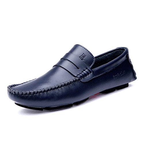 SUNROLAN lan43 Casual Men's Genuine Leather Penny Loafers Driving Moccasins Slip-On Boat Flats Shoes Blue (Sunrolan Moccasins For Men)