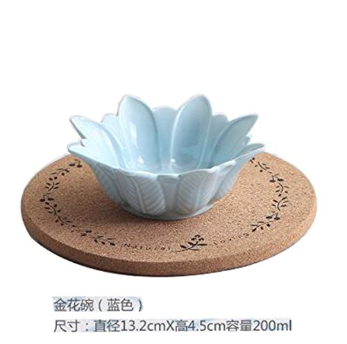 Price comparison product image JIANGTAOLANG 1PC Ceramic Dishes 5Inch Flower Bowl Dinner Tableware Dishes Ice Cream Bowl Blue 5 inch