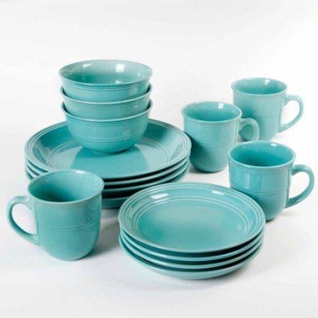 16-Piece Round Dinnerware Set Aqua