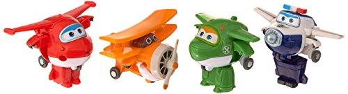"Super Wings Transform-a-Bots 4 Pk – Jett, Grand Albert, Mira, Paul 2"" Scale"