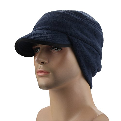 Leories Winter Windproof Cap Outdoor Warm Fleece Earflap Hat with Visor Dark Blue