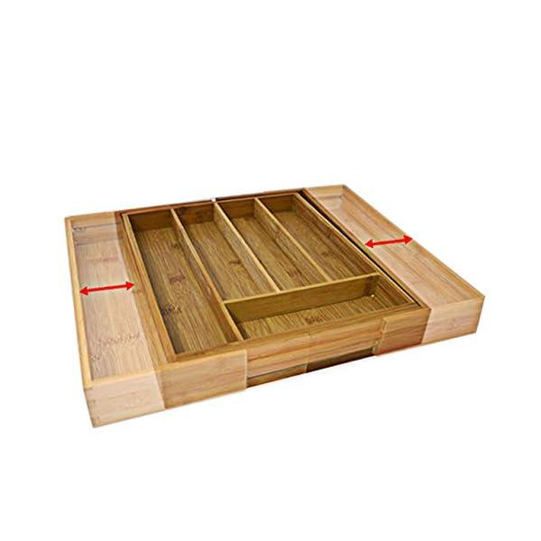 41 vuAfqnBL Relaxdays Besteckkasten Bambus, ausziehbarer Besteckeinsatz als Küchenorganizer, Schubladeneinsatz 33,5x29-48x5 cm…