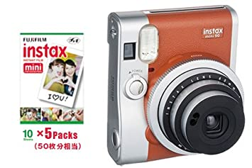 Instant camera instax mini 90 neo classic Brown & film 50 sheets set Instant Cameras at amazon