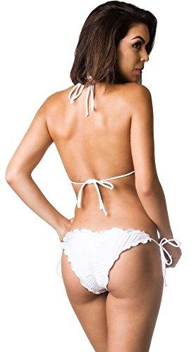 57d8b49fc26 Coqueta Swimwear Women Brazilian Bikini Scrunch Set Wavy Sexy Teeny  Swimsuit White